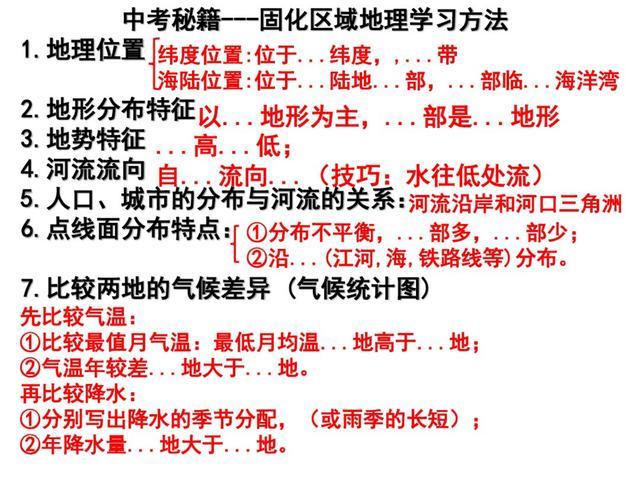 中考地理1-6册重点「内容笔记+解题公式」浓缩成88页