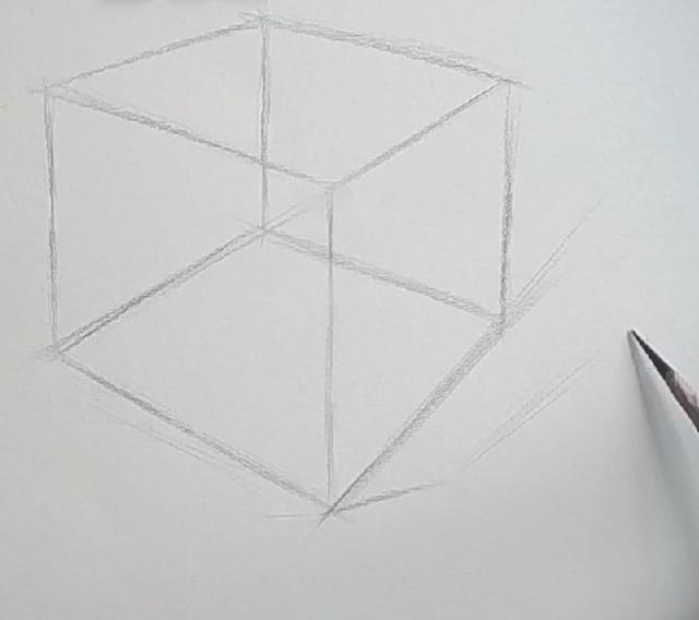 正方体怎么做,超简单的素描正方体绘制步骤