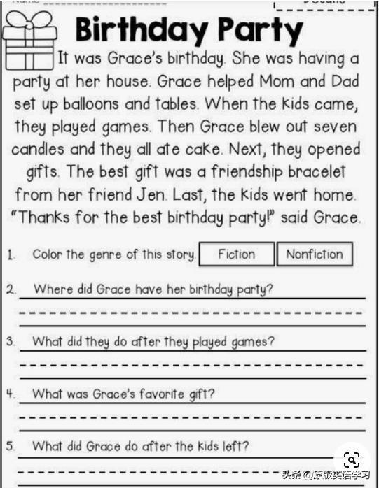 英文生日祝福语,英语原版阅读:Birthday Party