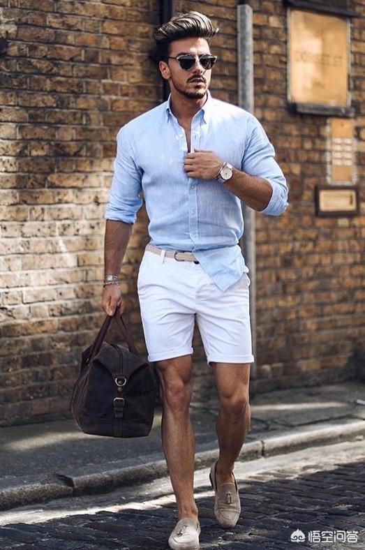 椰子鞋图片,男士米白色修身短裤搭配?