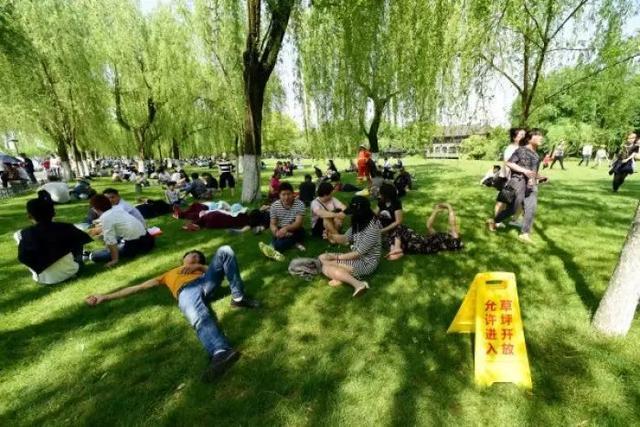 我们常看到草坪被践踏,增加图片所示的温馨提示,您觉得怎么样?
