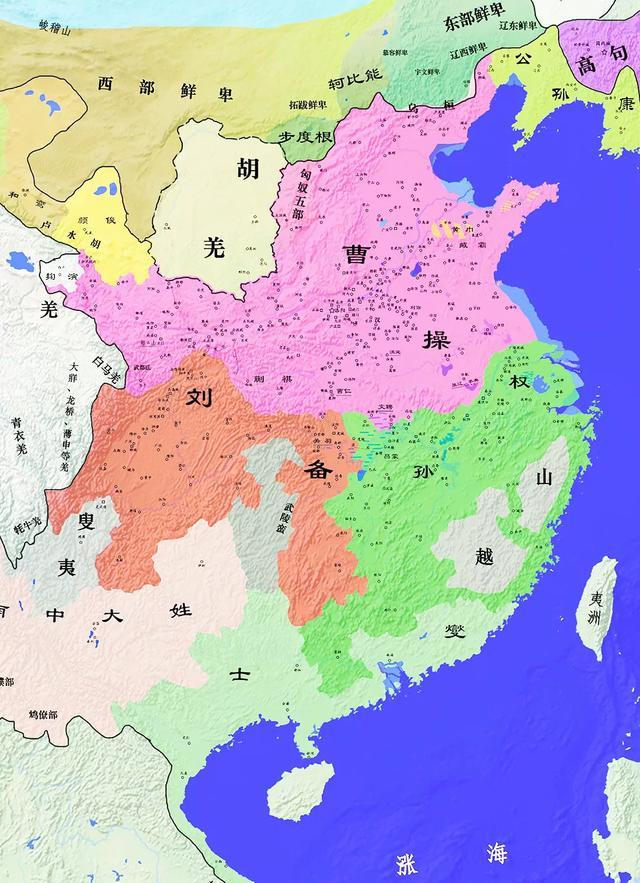 三国地图,蜀汉的疆域面积只比曹魏略小,东吴的地盘甚至比曹魏还大点(图2)