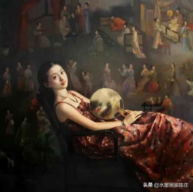 日本画点的女艺术家、日本画的绝美人物画、沉睡的少女油画艺术家插图2