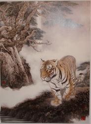 老虎画,我国哪位画家画老虎最逼真?
