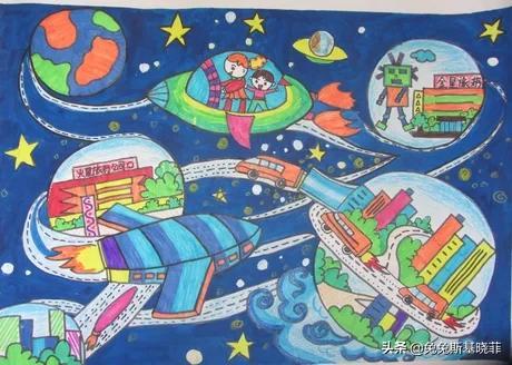 科幻画一等奖,未来太空科幻画该怎么绘画?