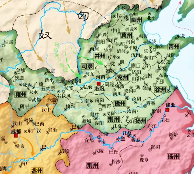 三国地图,蜀汉的疆域面积只比曹魏略小,东吴的地盘甚至比曹魏还大点(图5)